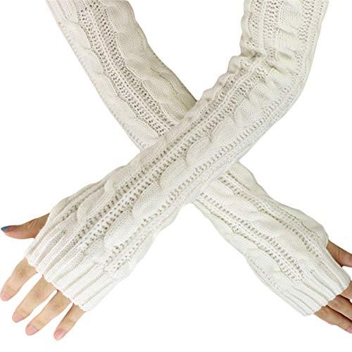 Loneflash Gloves, Winter Wrist Arm Hand Warmer Knitted Hemp Flowers Fingerless Knitted Long Gloves (White) ()