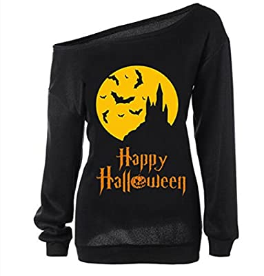 Dutebare Women Halloween Pumpkin Sweatshirt Off Shoulder Slouchy Shirt Long Sleeve Pullover Top