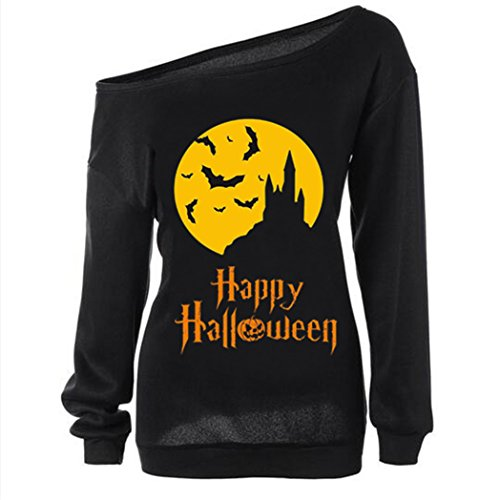 Women's Halloween Pumpkin Sweatshirt Off Shoulder Slouchy