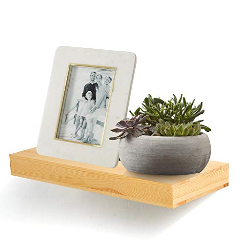 AHDECOR Natural Wood Deep Floating Wall Shelves, Solid Pine, Display Ledge Shelf Storage with Invisible Blanket (18 inch, Clear Coat Finish)