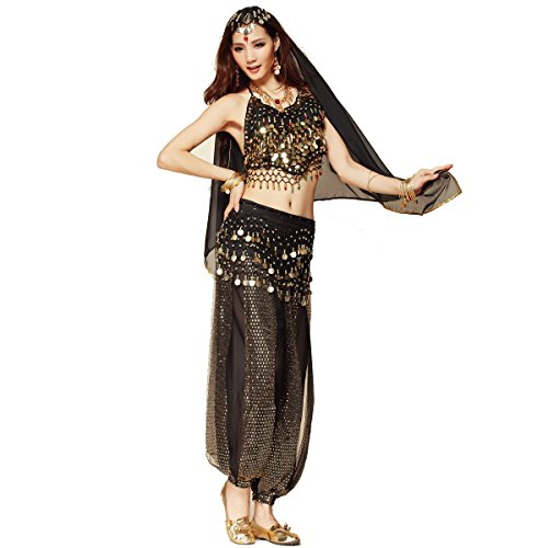 Pilot-trade Women's Belly Dance Costume Beads Bells Top Harem Pants Hip Scarf Belt