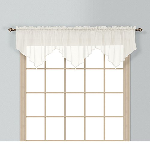 (1 Piece Coordinating Sheer Natural/Egg Voile Ascot Valance, Curtain, Solid Pattern, Contemporary Style, Beautiful Design, Polyester Material, Luxury and Reach Look, Stunningly Beautiful, Cream, Ivory)