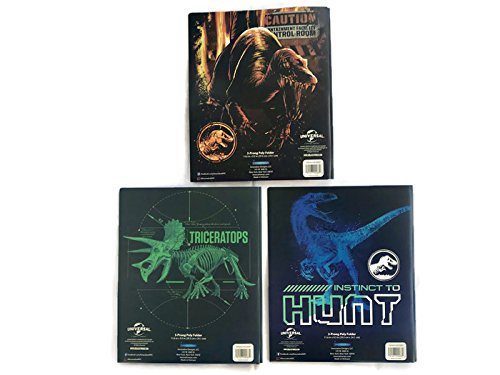 Jurassic World School Supplies Bundle of 3 Poly Folders (3-Prong)