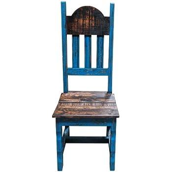 Marvelous Amazon Com Rustic Scrape Turquoise Wood Plain Chair Solid Ibusinesslaw Wood Chair Design Ideas Ibusinesslaworg