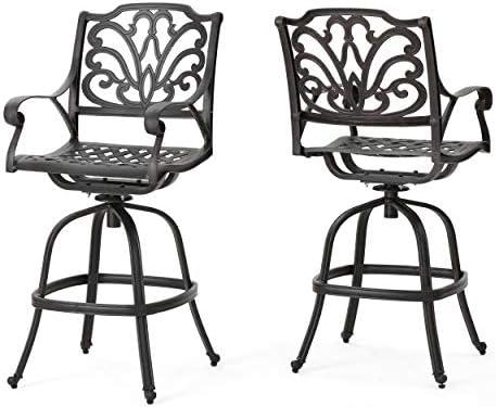 Christopher Knight Home Alfresco Outdoor Bronze Finished Cast Aluminum Barstools, 2-Pcs Set, Bronze
