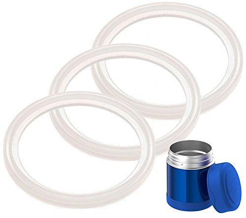 3-Pack of Thermos (TM) Food Jar 10 Ounce FUNtainer (TM) -Compatible Gaskets/O-Rings/Seals by Impresa Products - BPA-/Phthalate-/Latex-Free - Replacement for 10 Ounce Container