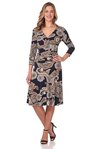 Rekucci Women's Slimming 3/4 Sleeve Fit-and-Flare Crossover Tummy Control Dress (18,Navy/Sand Paisley) ()