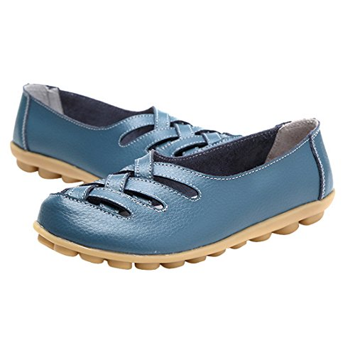 Vertvie Damen Schuhe Ballerinas Rund Zehe Flats Slipper Blau