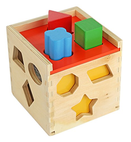 Toys For Boys Age 24 : Colorful shape sorting puzzle cube solid wood toy with