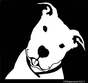 Smiling Happy Pitbull Decal Vinyl Sticker|Cars Trucks Walls Laptop|WHITE|5.5 In|URI441