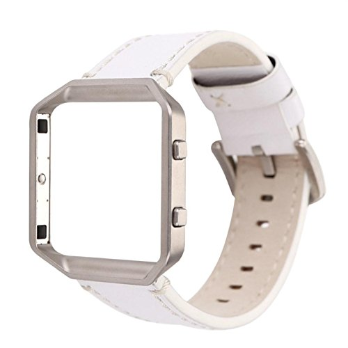 Owill Solid Colour Leather Watchband Wrist Strap With Metal Frame For Fitbit Blaze, Suitable Wrist 150-225MM (225 Leather)