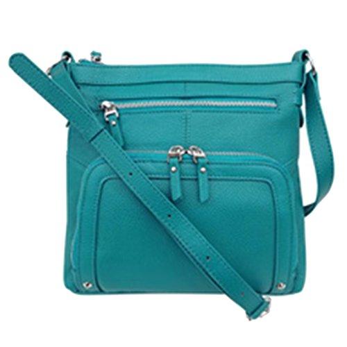 - SILVERFEVER Genuine Leather 2 Zip Crossbody Traveler Handbag Purse (Turquoise)