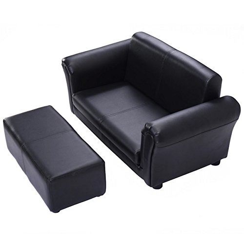 Black Kids Sofa Armrest Chair Couch Children Living Room Furniture Toddler Gift With Ottoman, Comfortable Material, Lightweight For Easy Handling