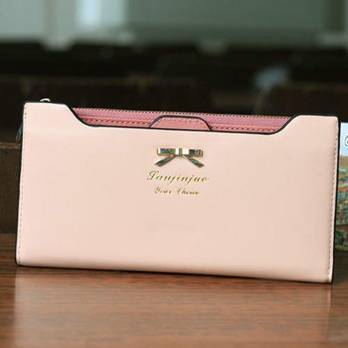 Women's Soft Zip Leather Bowknot Card Holder Clutch Wallet Long Card Purse Handbag Wallet US