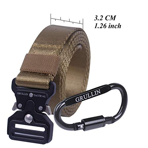 (GRULLIN Tactical Rigger Belt,Military Style Nylon Web Waist Belt for Men with Heavy Duty Quick Release Metal Buckle 1.26