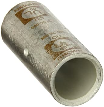 Morris Products 94436 Short Barrel Compression Splice, Copper, 500mcm Wire Range, Brown Color Code