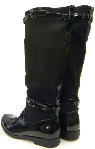 Damen Schuhe Stiefel Reiter Style Lack Boots Schwarz