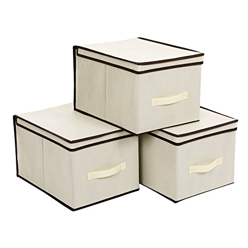 SONGMICS Large Storage Bins Cube Box with lids and Dual Non-woven Handles for Home Closet Bedroom Drawers Organizers Set of 3, Beige URLB40M by SONGMICS