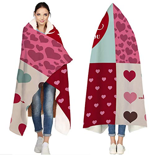 T&H Home Hooded Jersey Soft Fleece Sherpa Wearable Travel Warm Cozy Throw Blanket Poncho - Patchwork Style Valentine