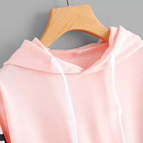 A Donne Maniche Lettere Felpa Top Felpa Stampa Rosa Camicetta Kimodo Pullover Di Lunghe O56wdnqx