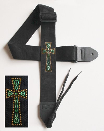 Legacystraps Christian RS Guitar Strap with Metal Studded Celtic Cross W/Emerald Green Center