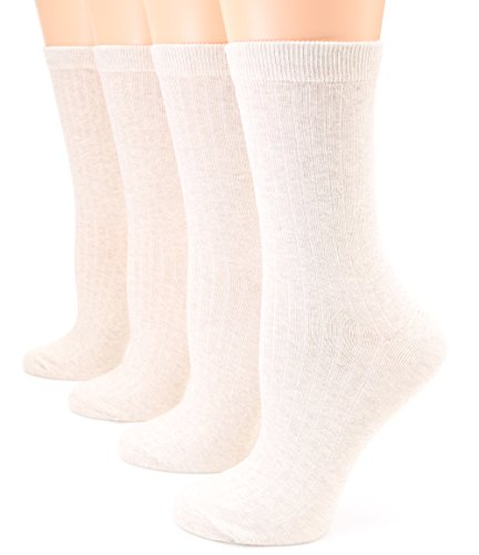 MIRMARU Women's 4 Pairs Lightweight Ribbed knitted Soft Cotton Casual Crew Socks (Ivory) (Ivory Womens Socks)
