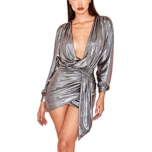Ophestin Women's Sexy Deep V Neck Metallic Glitter Ruched Long Sleeve Mini Party Dress Silver Size XL