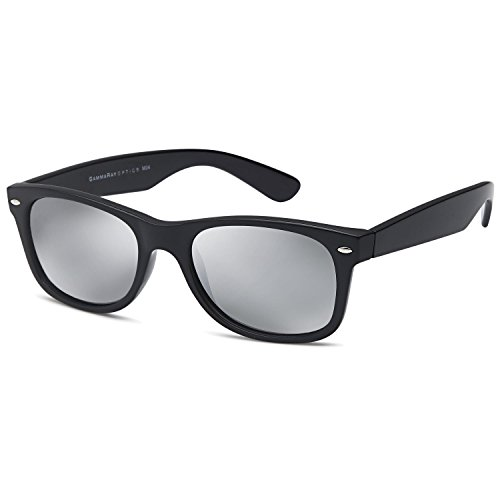 GAMMA RAY UV400 55mm Classic Adult Style Sunglasses - Mirror Silver Lens on Black - Sunglasses For Men Classic