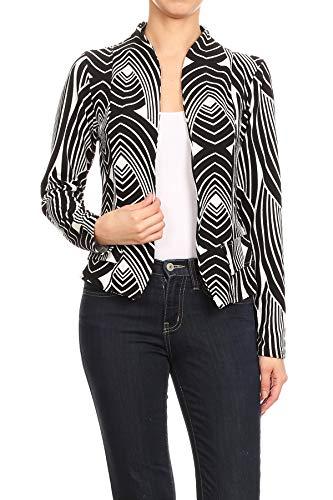 MissMissy Womens Casual Business Slim Fit Long Sleeve Blazer Jackets J907 (3X-Large, Black-Leaves)