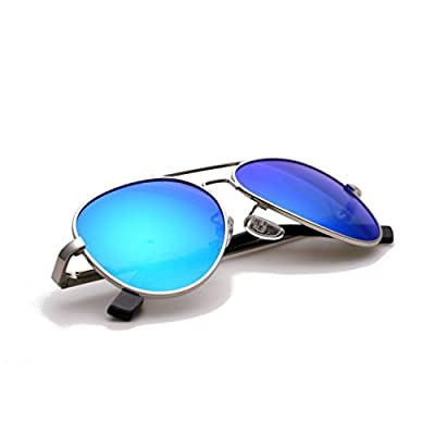 Zacway Small Polarized Spring Hinges Metal Aviator Sunglasses for Men Women UV400 52mm