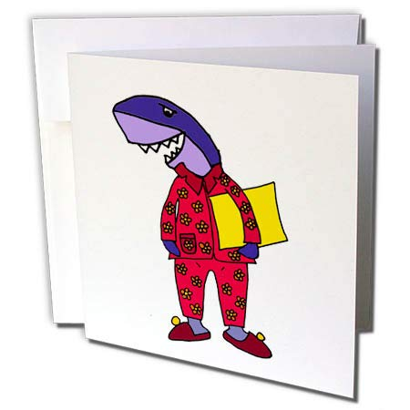 3dRose All Smiles Art at The Beach - Funny Cute Shark Wearing Flowered Pajamas Cartoon - 6 Greeting Cards with envelopes (gc_287924_1)