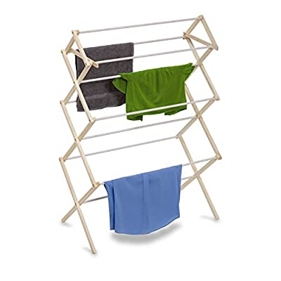 Honey-Can-Do DRY-01174 Indoor Clothes Drying Rack, Wood - Clothes drying rack - made of wood - sturdy and efficient Coated drying bars, prevents clothes from slipping No tool assembly, unique locking system - laundry-room, entryway-laundry-room, drying-racks - 41%2BQB3lfCnL. SS400  -