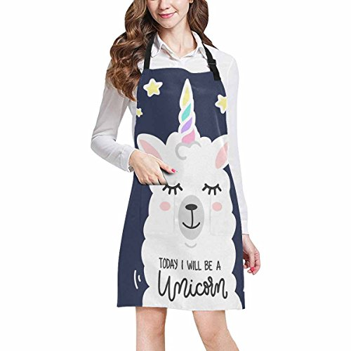 (InterestPrint Llama in Unicorn Horn with Funny Quotes I Will Be a Unicorn Chef Aprons Professional Kitchen Chef Bib Apron with Pockets Adjustable Neck Strap, Plus Size)