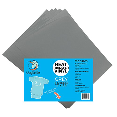 (5) 12 x 9.8 Sheets of Craftables Grey Heat Transfer Vinyl HTV - Easy to Weed Tshirt Iron on Vinyl for Silhouette Cameo, Cricut, All Craft Cutters. Ships Flat, Guaranteed Size