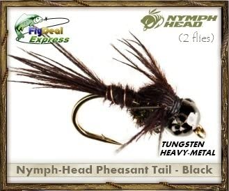 2-Pack Nymph FlyDeal Fishing Flies Nymph-Head Pheasant Tail Brown
