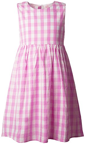 Ipuang Flower Girls' Casual Cotton Plaid Dress 8 Pink -