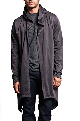 Victorious Long Length Drape Cape Cardigan Hoodie JK701 - DARK GREY - Large - J7A