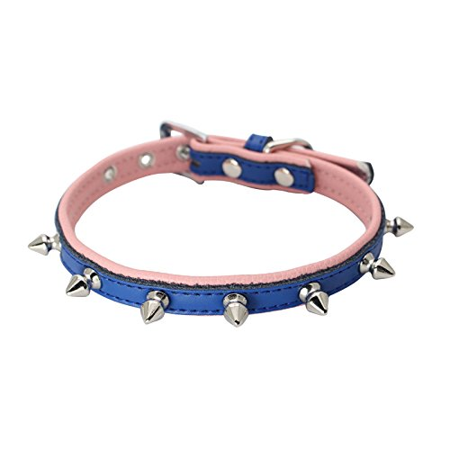 Gorgeous Eyelet (Dogs Kingdom One Row Spiked Studded Genuine Leather Dog Collar Soft Real Leather Padded Dog Collar Puppy Small Medium Dog Navy Xs)