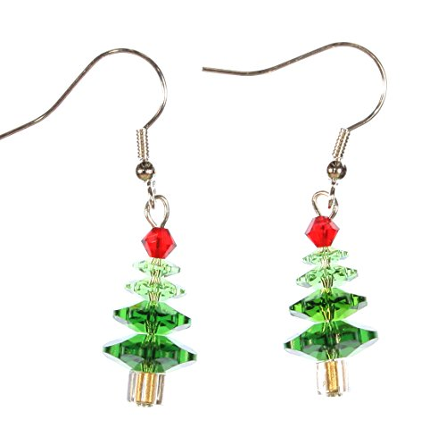 ARThouse Little Tree Christmas Tree Earrings Made with Swarovski Crystals; Dangle 1.5 Inches