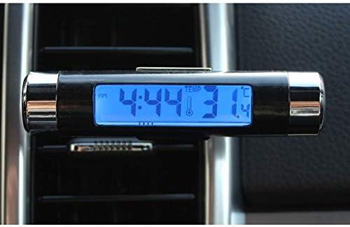 Peanutaor 2 en 1 Voiture v/éhicule LCD Affichage num/érique thermom/ètre Automobile Horloge Portable Voiture /évent de Sortie dair Clip-on LED r/étro-/éclairage