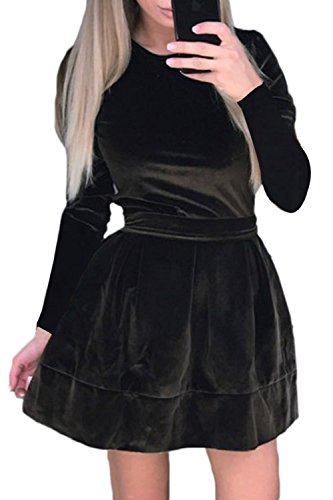 Womens Round Collar Long Sleeve Tie Waist with Belt Empire Waist A-Line Mini Elegant Silk Velvet Skater Casual Dress Brown Medium ()