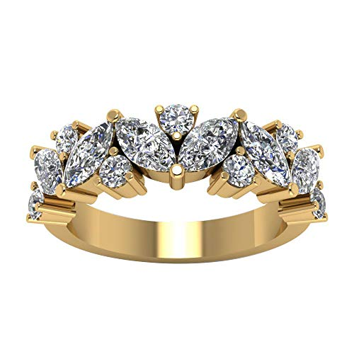 3.00 Ct Marquise & Round Cut Simulated Diamond Half Eternity Wedding Anniversary Band Ring 14K Yellow Real Gold 9.5