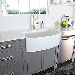 Farmhouse Kitchen White Farmhouse Sink – Lordear 30 inch White Kitchen Sink Fireclay Ceramic Porcelain Arch Edge Apron Front Single Bowl… farmhouse kitchen sinks