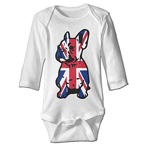 British Flag Bulldog Printed Infant Baby Boy Girl Long-Sleeved Romper Jumpsuit Bodysuit - Dog Coats Uk
