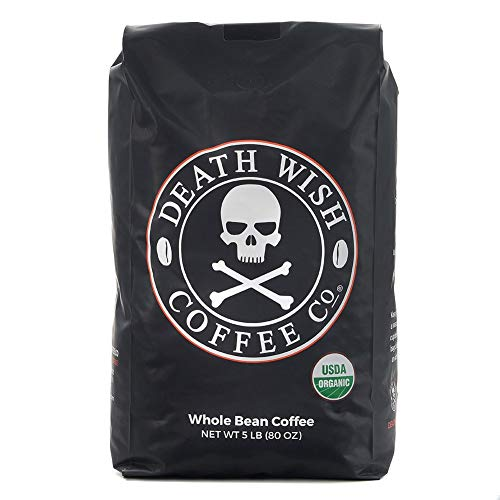 Death Wish Whole Bean Coffee, The World's Strongest Coffee, Fair Trade and USDA Certified Organic - 5 Pound Bulk Value-Bag (Best Store Bought Chocolate)
