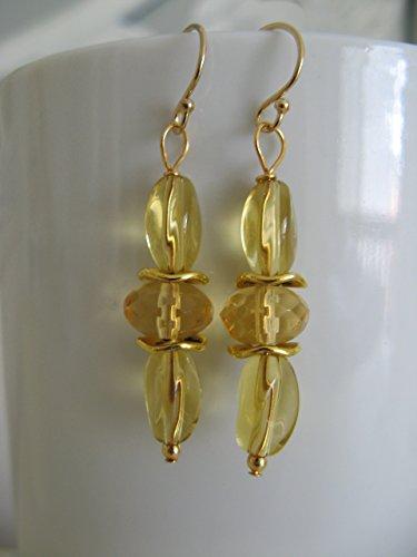 Czech Jewelry - Honey Yellow Czech Glass Dangling Earrings on Gold Filled Earring Wires Artisan Jewelry