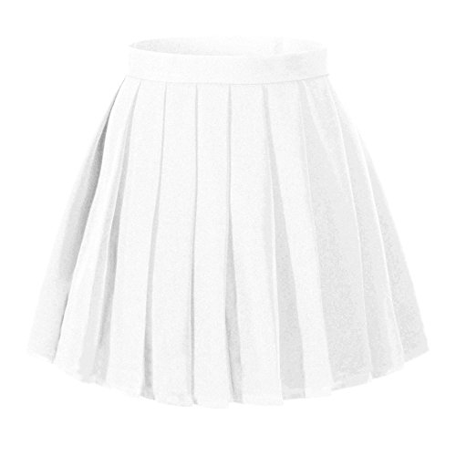 Beautifulfashionlife Women`s Kilt School high Waist Flat Solid Pleated Skirts (3XL,White) Solid Kilt