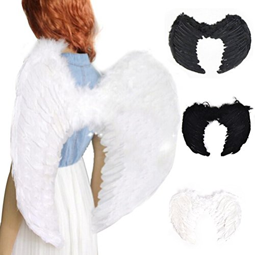 Fairy Angel Wings Hen Night Fancy Dress Costume Halloween Party Event Supplies Black 45x35 -