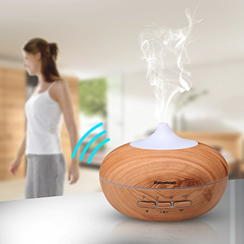 Excelvan Auto-sensing 300ML Aromatherapy Ultrasonic Aroma Essential Oil Diffuser, Wood Grain Cool Mist Air Humidifier with Auto Shut-off for Office Home Bedroom Yoga Spa, 7 Color LED Lights Changing