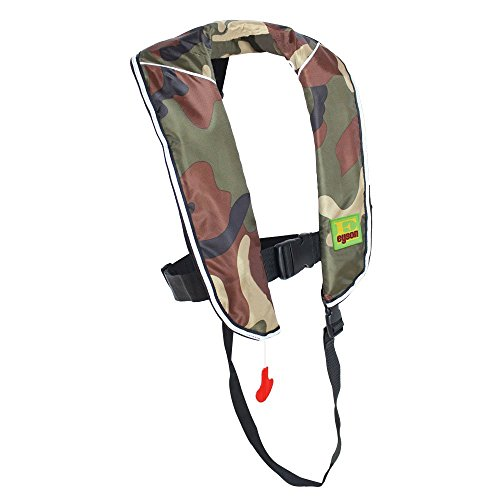 Premium Quality Automatic/Manual Inflatable Life Jacket Lifejacket PFD Life Vest Inflate Survival Aid Lifesaving PFD for Children Youth Kids - Green Camouflage Color